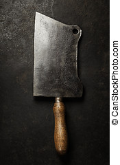 cleaver vintage - Meat cleaver knife on dark vintage...