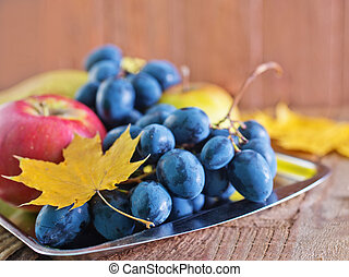 autumn harvest on the metal tfay and on a table