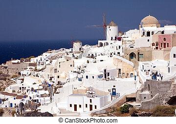 Island Santorini 5 - Kind on island Santorini with mills and...