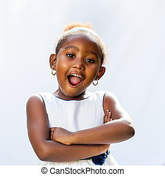 Cute african girl with surprising face expression.