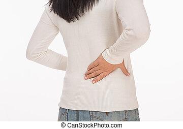 Woman feel pain in back - Asian woman feel pain in her back