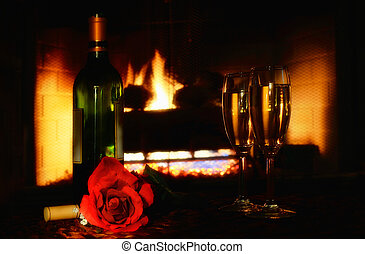 romantic setting in front of fire place - Romantic setting...