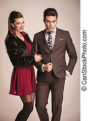 fashion couple posing together - Attractive young business...