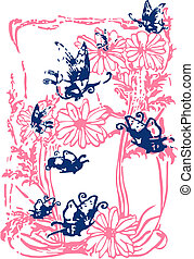 Flower Butterfly Writing Illustration