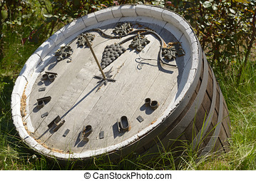 Sundial made from the wine keg