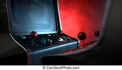 Arcade Machine Opposing Duel - Two vintage unbranded arcade...