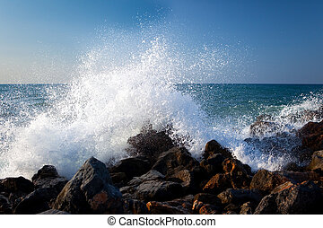 Sea surf 1 - Sea surf with splashes and white foam