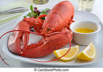 Lobster - Boiled lobster on a plate with butter, lemon, and...