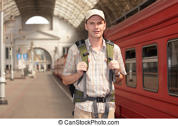 Tourist on the train station