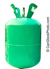 Green gas tank on isolated.