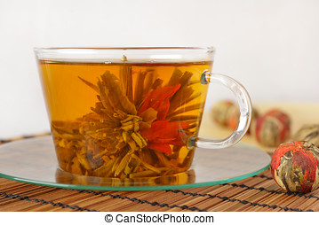 Green tea with lily flower