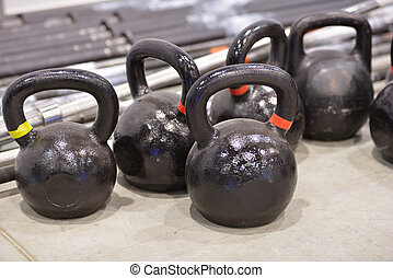 Kettlebells - Set of Kettlebells in the gym