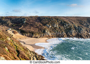 The Beach at Porthcurno - Looking down at the Porthcurno...