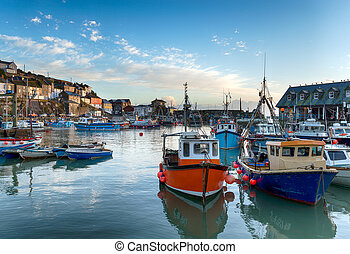 Mevagissey Harbour - Fishing boats in the harbour at...