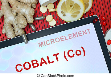 Cobalt (Co) - Tablet with words Cobalt (Co). Healthy eating.