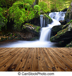 waterfall - Beautiful waterfall with wooden planks