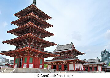 Majestic temple with towering pagodas