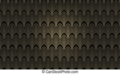 Art Deco Wall - An art deco styled wallpaper pattern in gold...