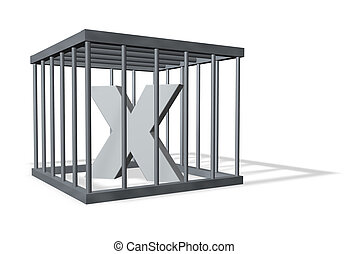 big X in a cage - uppercase letter X in a cage on white...