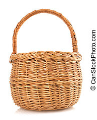 wicker basket on white background - wicker basket isolated...