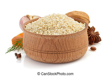 sesame seed on white background - sesame seed isolated on...