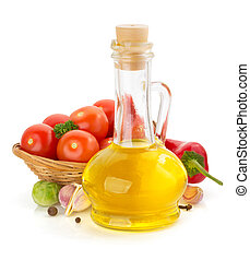 oil and food ingredients, spice on white - oil and food...