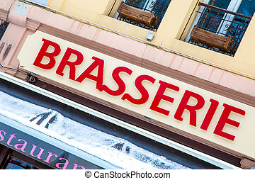 Brasserie sign - The red Brasserie sign showing the right...