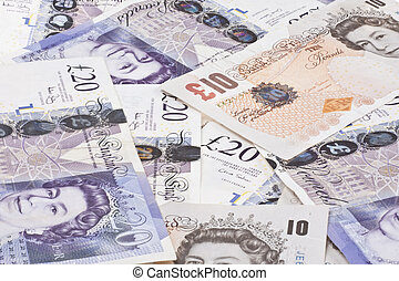 pilha, de, Dinheiro, britânico, libras, esterlino,...