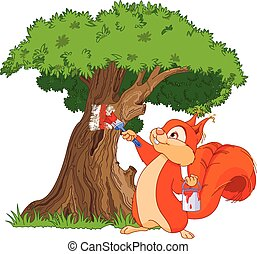 Squirrel painter - Illustration of cute squirrel paints a...