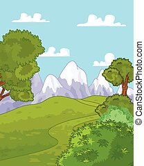 Mountain landscape - Illustration of idyllic mountain...