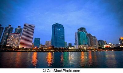 Bangkok city downtown Day to Night. 4k time lapse, Thailand...