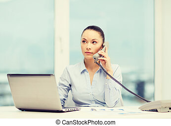 businesswoman with phone, laptop and files - business,...