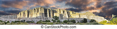 """""""The White Place"""" Panorama - Unique sandstone hills bathed..."""