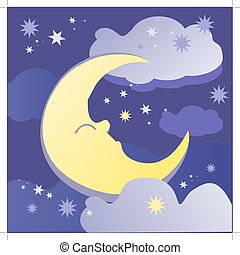 sweet dreams - Night background with moon, stars and clouds....