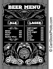 template for the beer menu on a bla