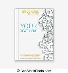Vector brochure template design with cogwheels. Creative...