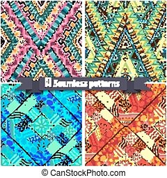 Set of tribal doddle rhombus seamless pattern - Set of four...