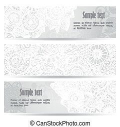 Abstract hand drawn ethnic pattern card set. - Abstract...