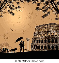 Couple silhouette in love in front of Colosseum in Rome on...