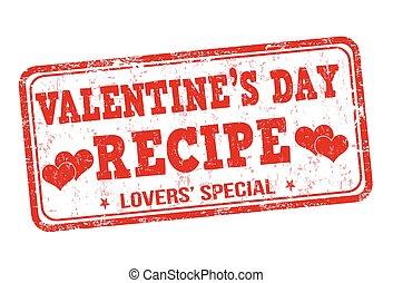 Valentines day recipe stamp - Valentines day recipe grunge...