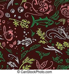 Brown sketch food pattern