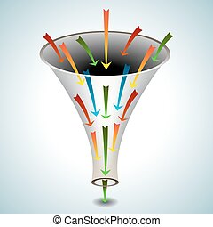 Merging Arrows Funnel Icon - An image of a 3d funnel icon...