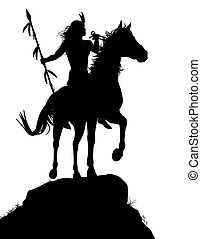 Horseback Indian - EPS8 editable vector silhouette of a...