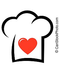 sign with chef hat and heart
