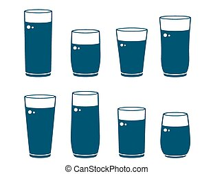 set of glossy water glass - set of blue glossy water glass...