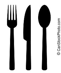 set of isolated cutlery icons - set of isolated black...