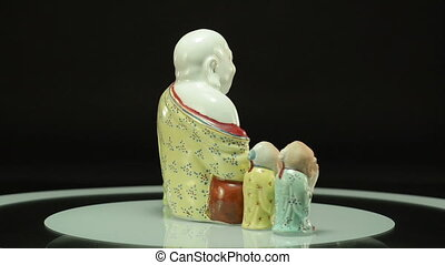 Buddha with three sages - Porcelain figurines of laughing...