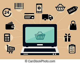computer and e-shop icons