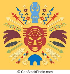 African Abstract Art Tribal Concept Illustration with mask,...