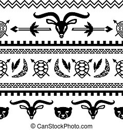 African Tribal Seamless Pattern. Ethnic ornament with...